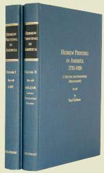 9781599756851: Hebrew Printing In America, 1735-1926: A History And Annotated Bibliography.