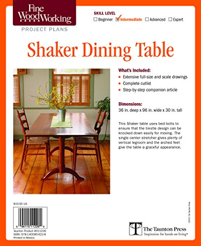 9781600856228: Fine Woodworking's Shaker Dining Table Plan