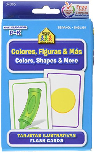 9781601595744: School Zone Bilingual Spanish English Colors (Colores), Shapes (Formas), & More Flash Cards Grades P-K