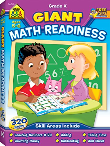 9781601597427: School Zone - Giant Math Readiness - Ages 5 and 6, Kindergarten, Numbers 0-20, Counting, Shapes, Patterns, Money and Time