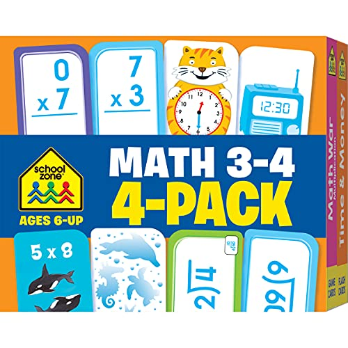 9781601599377: School Zone - Math 3-4 Flash Card 4-Pack - Ages 6 and Up, Multiplication, Division, Time and Money, and More