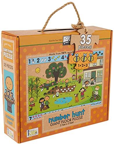 Green Start Number Hunt Giant Floor Puzzle (Hardcover): Ikids