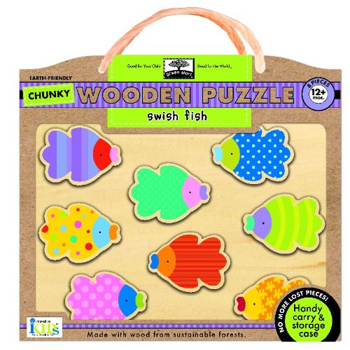 9781601692115: Green Start Chunky Wooden Puzzles - Swish Fish: Earth Friendly Puzzles with Handy Carry & Storage Case