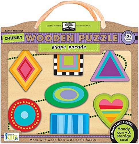 9781601692139: Green Start Chunky Wooden Puzzles - Shape Parade: Earth Friendly Puzzles with Handy Carry & Storage Case
