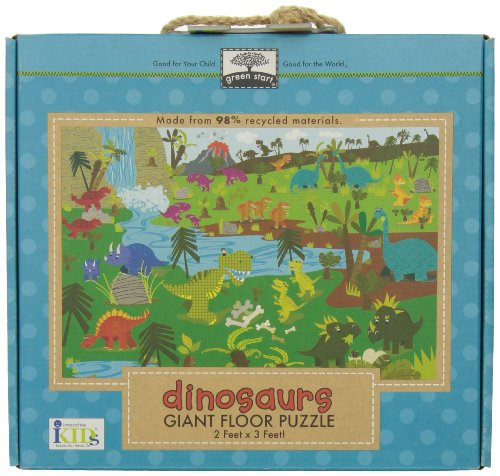 Green Start Dinosaurs Giant Floor Puzzle: Earth Friendly Puzzles with Handy Carry & Storage ...