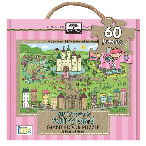Green Start Princess Fairyland Giant Floor Puzzle: Earth Friendly Puzzles with Handy Carry & ...
