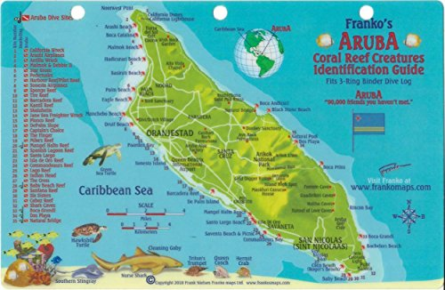 Aruba Dive Map Reef Creatures Guide Franko Maps - Aruba and us map