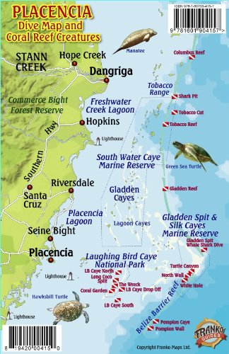 9781601904157: Placencia Belize Dive Map & Reef Creatures Guide Franko Maps Laminated Fish Card