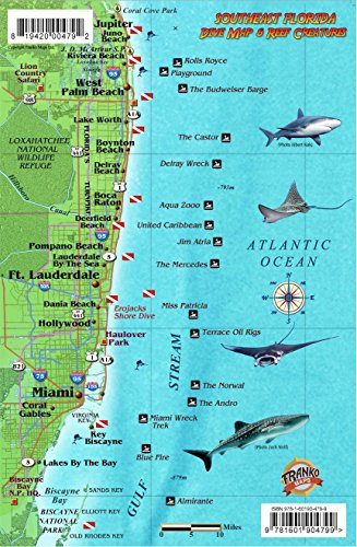 9781601904799: Southeast Florida Dive Map & Coral Reef Creatures Guide Franko Maps Laminated Fish Card