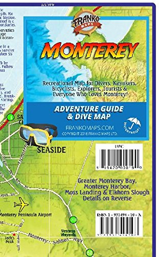 9781601909510: Monterey California Adventure & Dive Guide Franko Maps Waterproof Map