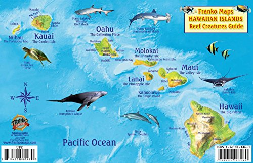 Hawaiian Islands Map & Coral Reef Creatures Guide Franko Maps Laminated Fish Card: Franko Maps ...
