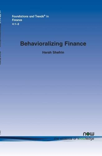 9781601983305: Behavioralizing Finance (Foundations and Trends in Finance)