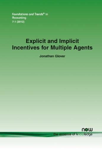 9781601986320: Explicit and Implicit Incentives for Multiple Agents (Foundations and Trends in Accounting)
