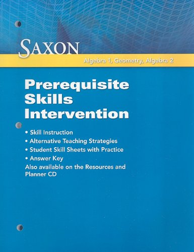 9781602775077: Saxon Math: Prerequisite Skill Intervention 2009
