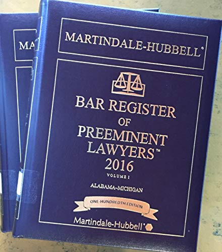 9781603663748: Martindale-Hubbell Bar Register of Preeminent Lawyers 2016
