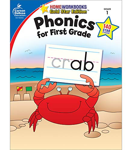 9781604187854: Phonics for First Grade, Grade 1: Gold Star Edition (Home Workbooks)