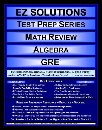 9781605621623: EZ Solutions - Test Prep Series - Math Review - Algebra - GRE (Edition: Updated. Version: Revised. 2015)