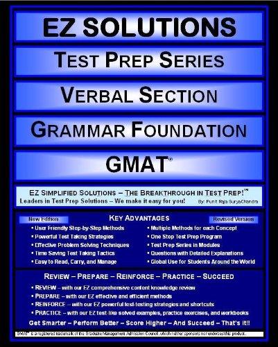 9781605629513: EZ Solutions - Test Prep Series - Verbal Section - Grammar Foundation - GMAT (Edition: Updated. Version: Revised. 2015) (Ez Test Prep)
