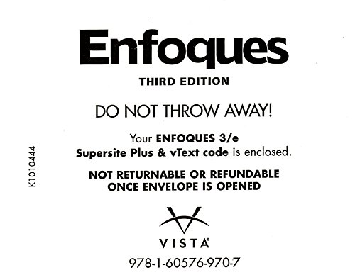 9781605769707: Enfoques Supersite PLUS Code - Supersite, vText and webSAM ~ CODE ONLY (Enfoques)