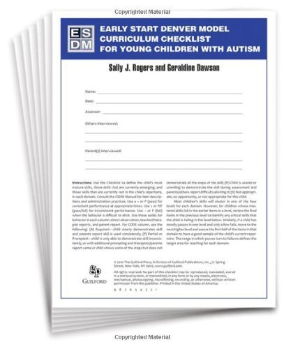9781606235089: Early Start Denver Model Curriculum Checklist for Young Children with Autism