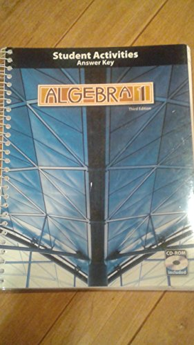 9781606820506: Algebra 1 3rd Edition Student Activities Manual Answer Key