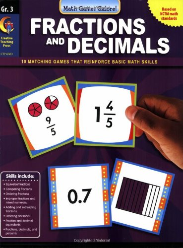 Fractions & Decimal, Gr 3 - Math Games Galore (1606891278) by Stephen Davis