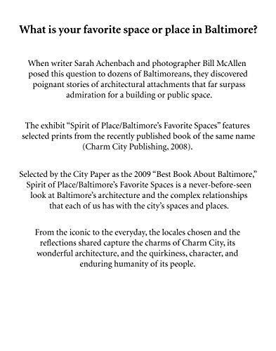 Spirit of Place Baltimore's Favorite Spaces: Sarah Achenbach; Bill Mcallen
