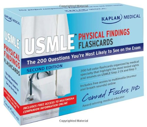 9781607146186: Kaplan Medical USMLE Physical Findings Flashcards: The 200 Questions You're Most Likely to See on the Exam