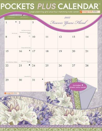 Forever Yours Floral 2012 Pocket Plus Calendar #16013: Orange Circle Studio