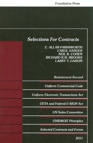 9781609300791: Selections for Contracts 2011 Edition: Uniform Commercial Code, Restatement 2nd (Selected Statutes)