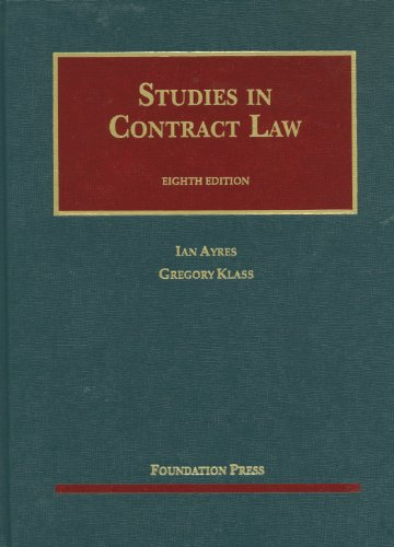 9781609301170: Studies in Contract Law, 8th (University Caseboook) (University Casebook Series)
