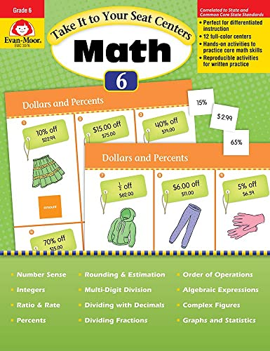 9781609637859: Take It to Your Seat Common Core Math Centers, Grade 6 (Take It to Your Seat Math Centers)