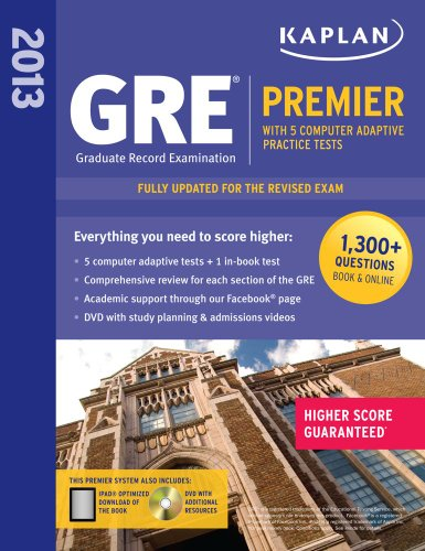 9781609781002: Kaplan 2013 GRE® Premier: with 5 Online Practice Tests + DVD
