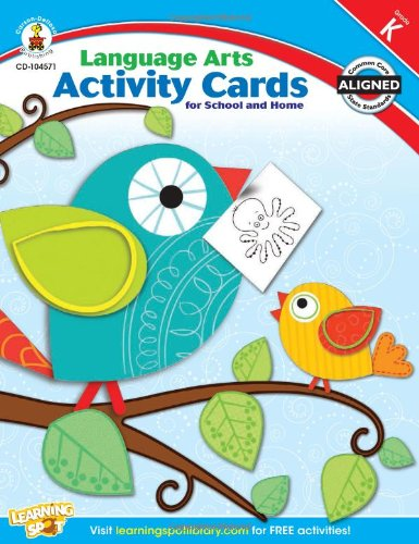 9781609969479: Language Arts Activity Cards for School and Home, Grade K