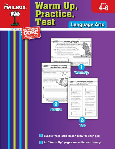 9781612762630: Warm Up, Practice, Test: Language Arts (Grs. 4-6)