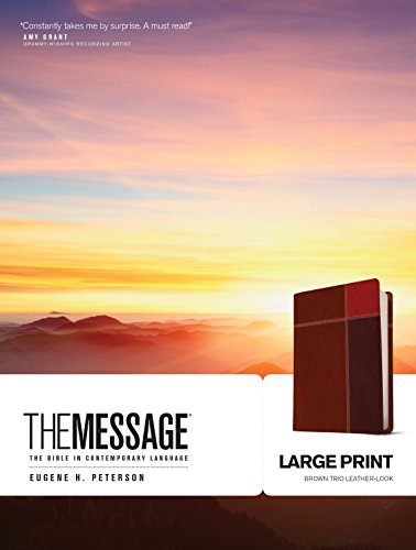 The Message: The Bible in Comtemporary Language, Brown Trio Leather-Look
