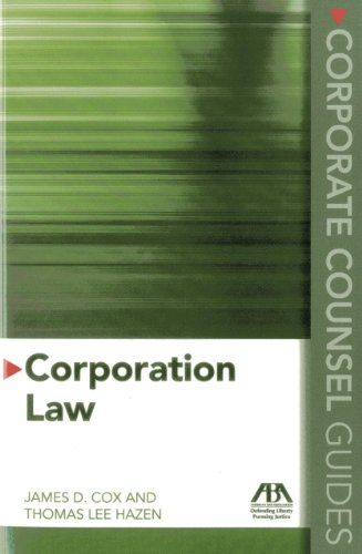 9781614385509: Corporate Counsel Guides: Corporation Law