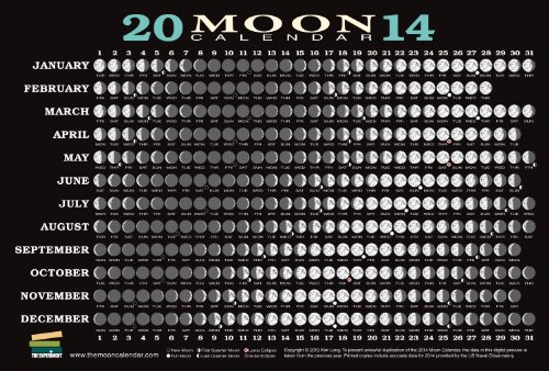 9781615190942: 2014 Moon Calendar Card (5 pack): Lunar Phases, Eclipses, and More!