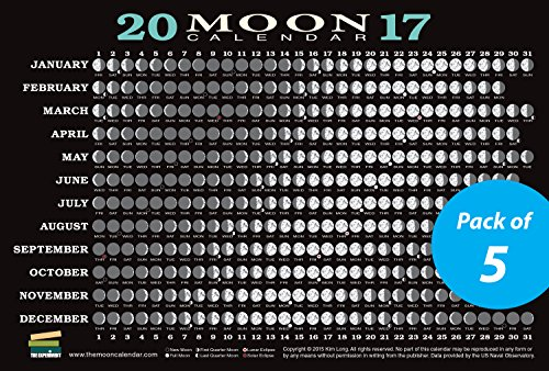 9781615193172: 2017 Moon Calendar Card (5-pack): Lunar Phases, Eclipses, and More!