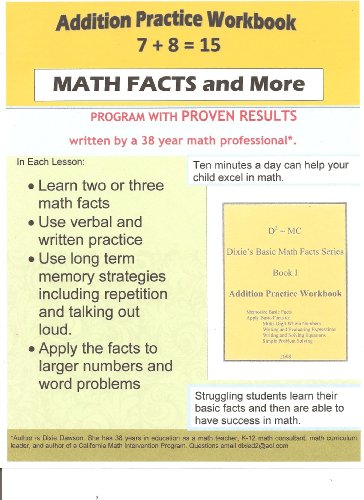 9781615393145: Addition Practice Workbook (Dixie's Basic Math Facts Series, Book I)