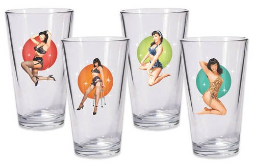9781616591205: Bettie Page Pint Glass Set of 4