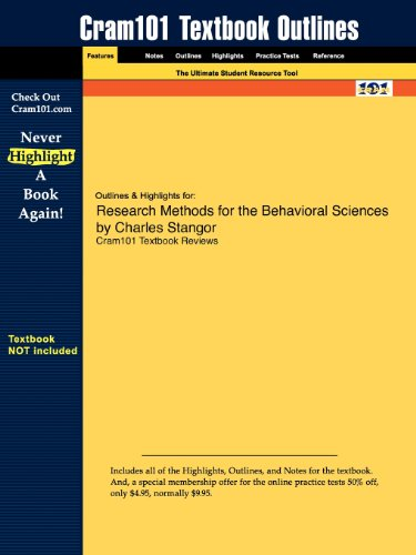 9781616985363: Outlines & Highlights for Research Methods for the Behavioral Sciences by Charles Stangor