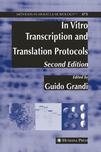 9781617376412: In Vitro Transcription and Translation Protocols (Methods in Molecular Biology)