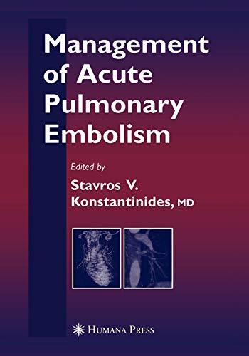 9781617376924: Management of Acute Pulmonary Embolism (Contemporary Cardiology)