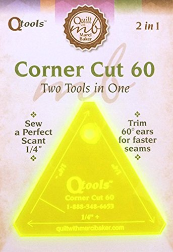 "9781617451911: Qtools™ Corner Cut 60: Two Tools in One - Sew a Perfect Scant 1/4"" - Trim 60° ears for faster seams"