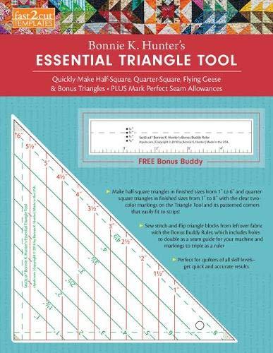 9781617454431: fast2cut Bonnie K. Hunter's Essential Triangle Tool: Quickly Make Half-Square, Quarter-Square, Flying Geese & Bonus Triangles - Plus Mark Perfect Seam ... - FREE Bonus Buddy Ruler (Fast2cut Templates)