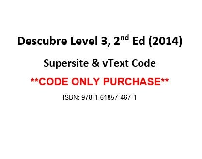 9781618574671: Descubre ©2014, Level 3 vText w/ Supersite Code - CODE ONLY