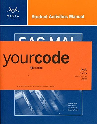 9781618577894: SAG MAL Student Activities Manual + Supersite code