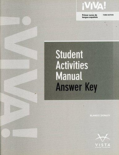 9781618579973: Viva 3rd Student Activities Manual Answer Key