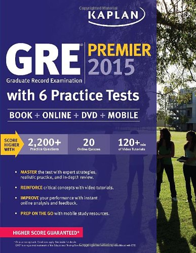 9781618656230: GRE® Premier 2015 with 6 Practice Tests: Book + DVD + Online + Mobile (Kaplan Test Prep)
